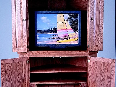 2 Piece Hidden Drawer Corner TV Center
